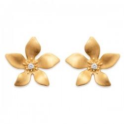 Boucles puces d'oreilles fleurs en plaqué or 18 carats et zirconium