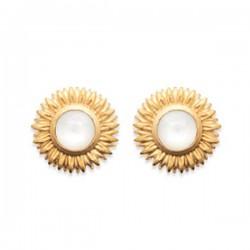 Boucles d'oreilles puces tournesol Plaqué Or 18 carats et pierre de lune