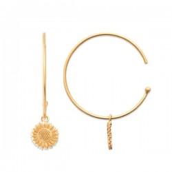 Boucles d'oreilles créoles en plaqué or 18 carats pendants tournesols