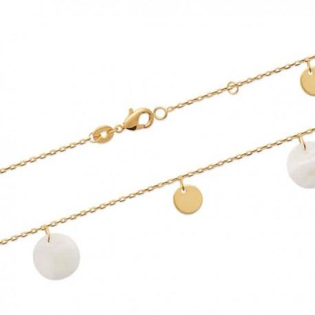 Bracelet Plaqué Or 18 carats pampilles nacre et plaqué or