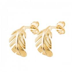 Boucles d'oreilles feuilles en plaqué or 18 carats Bijou nature