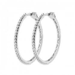 Boucles d'oreilles créoles argent massif 925/000 rhodié diam. 35 mm