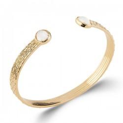 Bracelet jonc Plaqué Or 18 carats pierre de lune naturelle