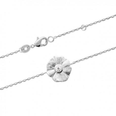 Bracelet fleur argent massif 925/000 et zirconium Bijou nature