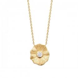 Collier fleur Plaqué Or 18 carats et zirconium Bijou nature