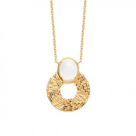 Collier Plaqué Or 18 carats pierre de lune naturelle Bijou nature