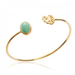 Bracelet jonc feuille exotique Plaqué Or 18 carats et pierre aventurine