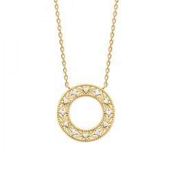 Collier cercle travaillé Plaqué Or 18 carats et zirconium