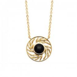 Collier Plaqué Or 18 carats et pierre naturelle agate noire Bijou nature