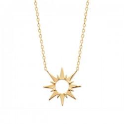 Collier plaqué or 18 carats pendentif étoile soleil Bijou tendance