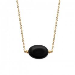 Collier Plaqué Or 18 carats pendentif pierre naturelle agate noire