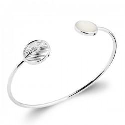 Bracelet jonc en argent massif 925/000 motif feuille et nacre naturelle