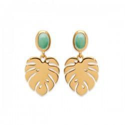 Boucles d'oreilles feuilles Plaqué Or 18 carats pierre naturelle aventurine