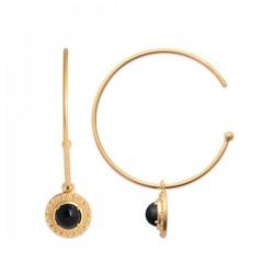 Boucles d'oreilles créoles Plaqué or 18 carats pierre naturelle agate noire
