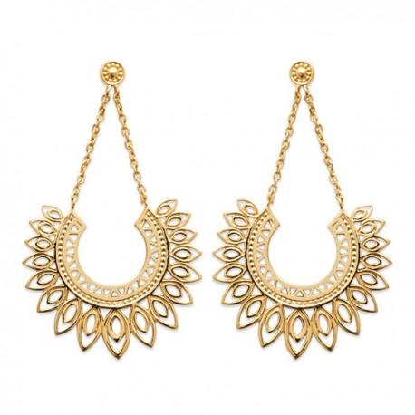 Boucles d'oreilles Plaqué Or 18 carats pendantes filigranées