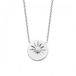Collier pendentif étoile argent massif 925/000 et zirconium
