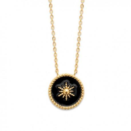 Collier étoile Plaqué Or 18 carats et émail noir