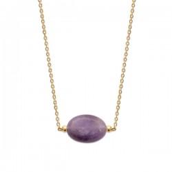 Collier Plaqué Or 18 carats pierre naturelle améthyste