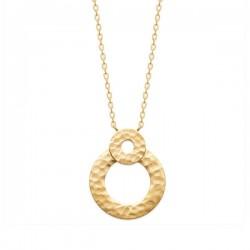 Collier Plaqué Or 18 carats anneaux effet martélé