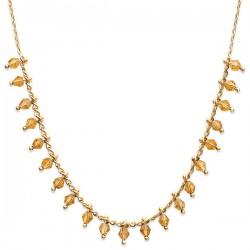 Collier Plaqué Or 18 carats pampilles cristal de couleur ambre