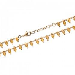 Bracelet Plaqué Or 18 carats pampilles cristal couleur ambre