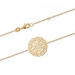 Bracelet Plaqué Or 18 carats fleur filigranée