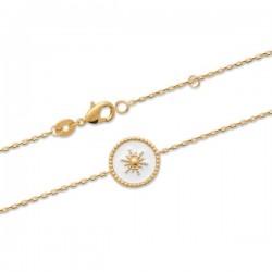 Bracelet Plaqué Or 18 carats petite étoile émail blanc