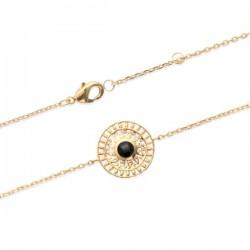 Bracelet Plaqué Or 18 carats pierre naturelle agate noire