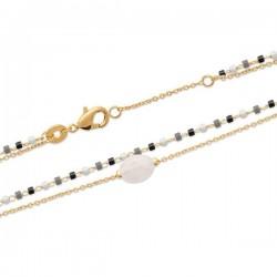 Bracelet Plaqué Or 18 carats 2 rangs et pierre de lune