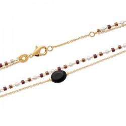 Bracelet Plaqué Or 18 carats 2 rangs pierre naturelle agate noire