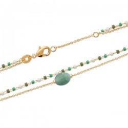 Bracelet Plaqué Or 18 carats 2 rangs pierre naturelle aventurine