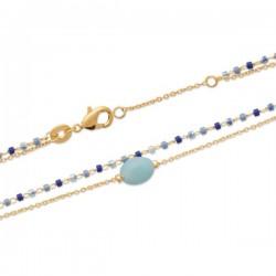 Bracelet Plaqué Or 18 carats 2 rangs pierre naturelle amazonite