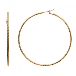Boucles d'oreilles créoles Plaqué Or 18 carats diamètre 70 mm