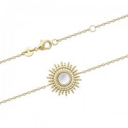 Bracelet soleil Plaqué Or 18 carats nacre naturelle et zirconium
