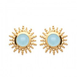Boucles d'oreilles puces soleils Plaqué or 18 carats pierre agate bleue
