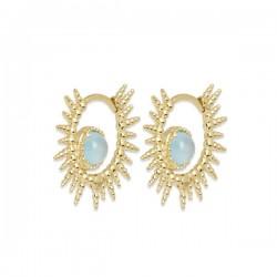 Boucles d'oreilles créoles soleil plaqué or 18 carats pierre agate bleue