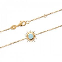 Bracelet soleil Plaqué Or 18 carats pierre naturelle agate bleue