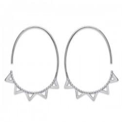 Boucles d'oreilles argent 925/000 créoles ovales tendance ethnique