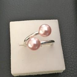 Bague double Argent 925/000 perles nacrées Swarovski rose taille 54