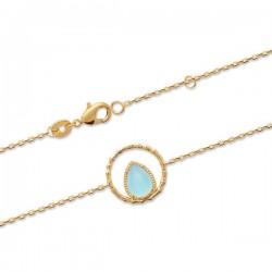 Bracelet Plaqué Or 18 carats goutte pierre naturelle agate bleue