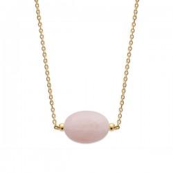 Collier Plaqué Or 18 carats pierre naturelle quartz rose Bijou nature