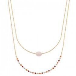 Collier Plaqué Or 18 carats 2 rangs petite pierre naturelle quartz rose