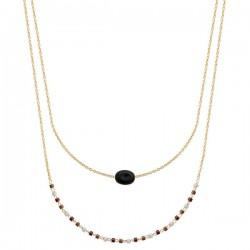 Collier Plaqué Or 18 carats 2 rangs petite pierre naturelle agate noire