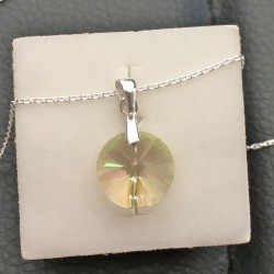 Collier argent 925/000 pendentif rond cristal Swarovski vert lumineux