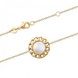 Bracelet style chaine Plaqué Or 18 carats pierre nacre naturelle