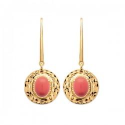 Boucles d'oreilles Plaqué Or pierre de couleur corail