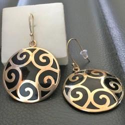 Boucles d'oreilles Plaqué Or 18 carats pendants ronds décor spirales