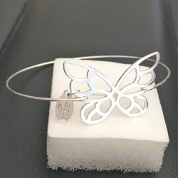 Bracelet jonc argent 925/000 papillon ajouré