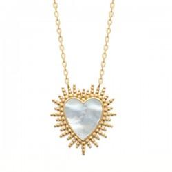 Collier cœur rayons de soleil Plaqué Or 18 carats et nacre