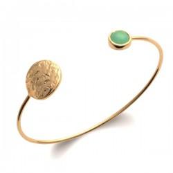 Bracelet jonc Plaqué Or 18 carats martelé pierre naturelle aventurine